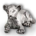 Silver Lion Cub Laying Sculpture | A57 | D'Argenta