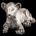Silver Lion Cub Laying Sculpture | A57 | D'Argenta -2