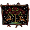 Reindeer Poinsettia Tapestry Throw Blanket   Pure Country   pc2448T