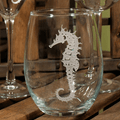 Seahorse Stemless Wine Glass Set of 4 | Rolf Glass | 221335