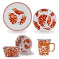 Shrimp Dinnerware 4 Piece Place Setting Enamelware | Golden Rabbit | GRESHRIMP