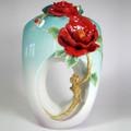 Red Camellia Flower Porcelain Vase   FZ02677   Franz Porcelain Collection