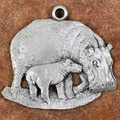 Hippo with Baby Pewter Ornament | Andy Schumann | SCHMC122122