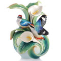 Blue-Winged Pitta Vase Happy Encounter | FZ03123 | Franz Porcelain Collection -2