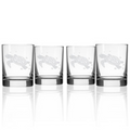 Sea Turtle Double Old Fashion Drink Glass Set of 4 | Rolf Glass | 234007
