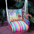"Bird and Daisy Hammock Chair Swing ""Le Jardin""   Magnolia Casual   LJRRPDB-SP -2"