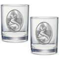 Mermaid Double Old Fashioned Glass Set of 2 | Heritage Pewter | HPIDOF4272