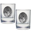 Mule Deer Double Old Fashioned Glass Set of 2   Heritage Pewter   HPIDOF210