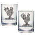 Rooster Double Old Fashioned Glass Set of 2 | Heritage Pewter | HPIDOF3760