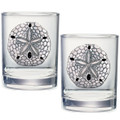 Sand Dollar Double Old Fashioned Glass Set of 2 | Heritage Pewter | HPIDOF3300