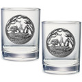 Wood Duck Double Old Fashioned Glass Set of 2   Heritage Pewter   HPIDOF4085