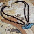 Butterfly on Roses Verdigris Brass Pendant Necklace | Elaine Coyne Jewelry | ZGP208N -2