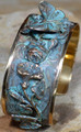 Butterfly on Roses Verdigris Brass Cuff Bracelet | Elaine Coyne Jewelry | ZGP201BC -2