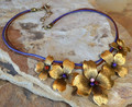 Dogwood Graduated Flower Brass Necklace | Elaine Coyne Jewelry | NSG840N -2