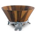 Sea Turtle Wood Salad Bowl   Arthur Court Designs   218C12