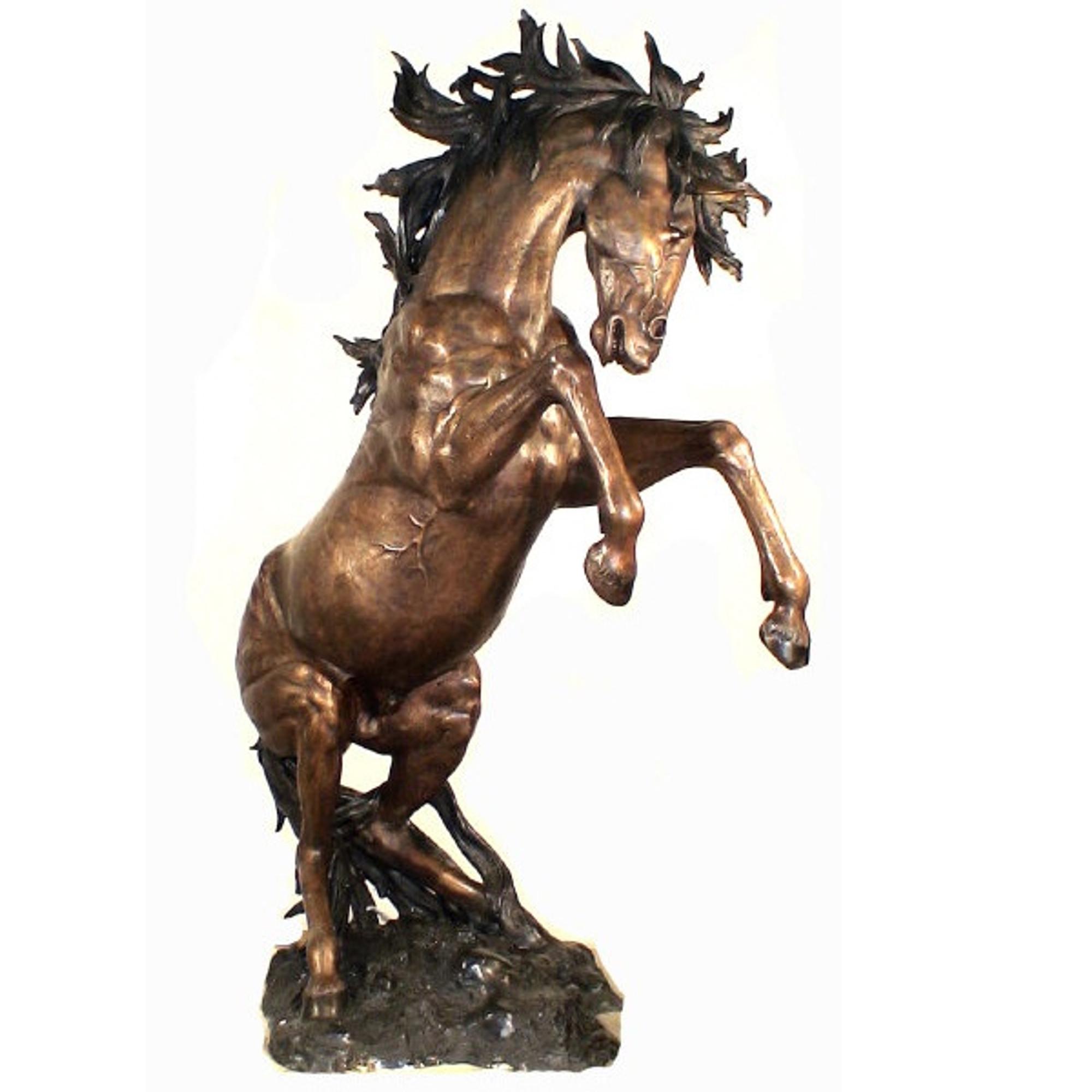 Horse Rearing Sculpture Outdoor Bronze