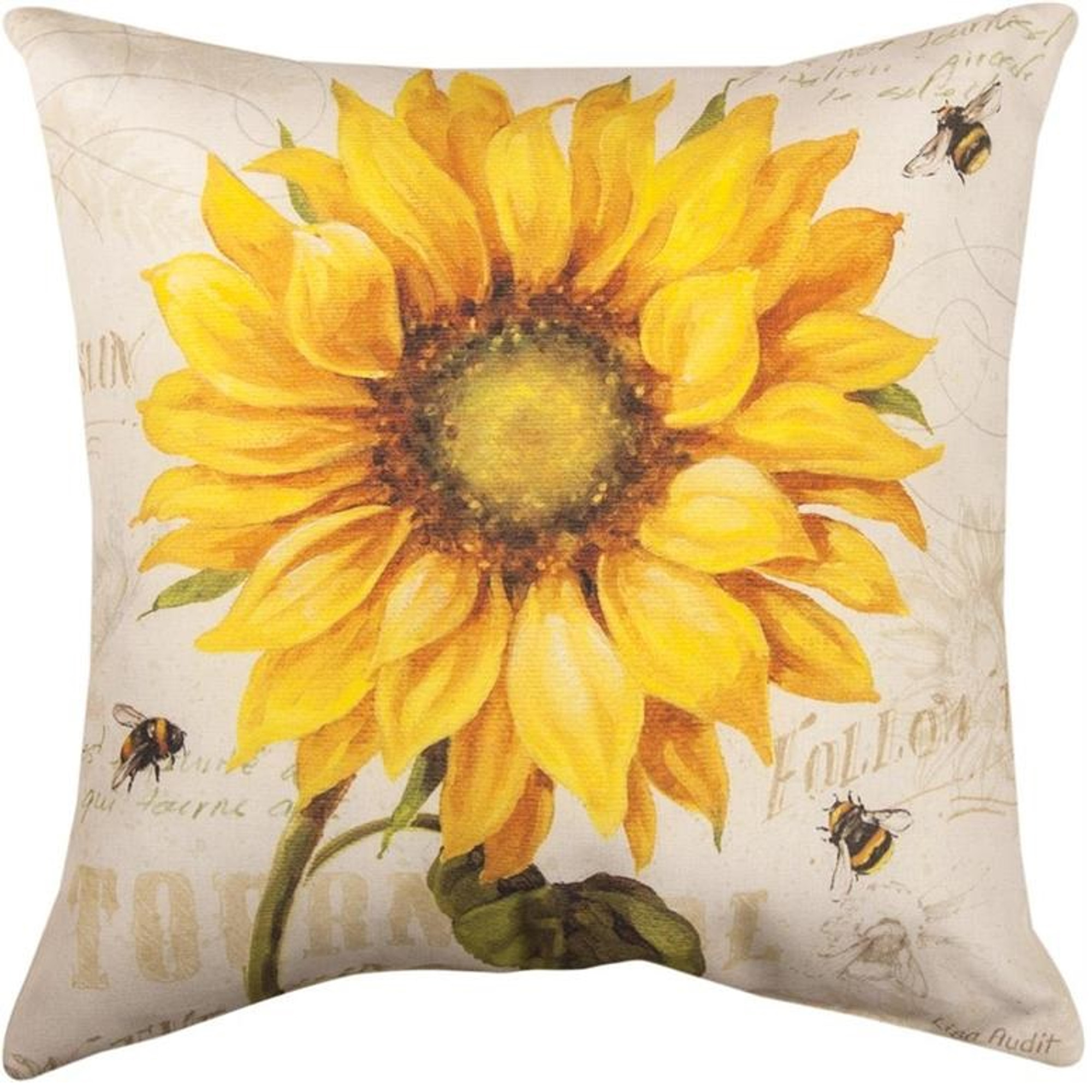 Sunflower And Bee Pillow Indoor Outdoor Climaweave Manual