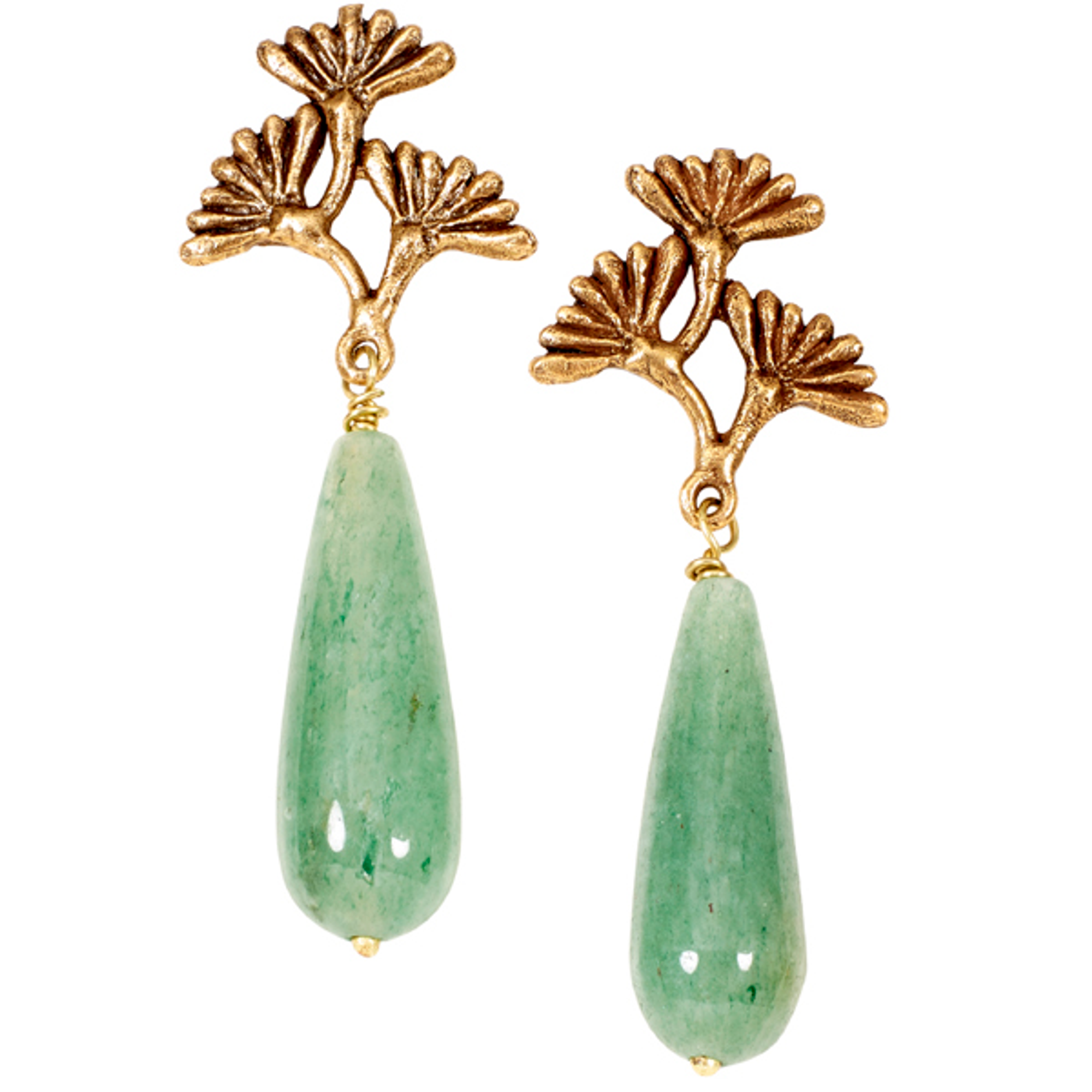 29a8349d6913a Vintage Dandelion Jade Post Earrings | Nature Jewelry