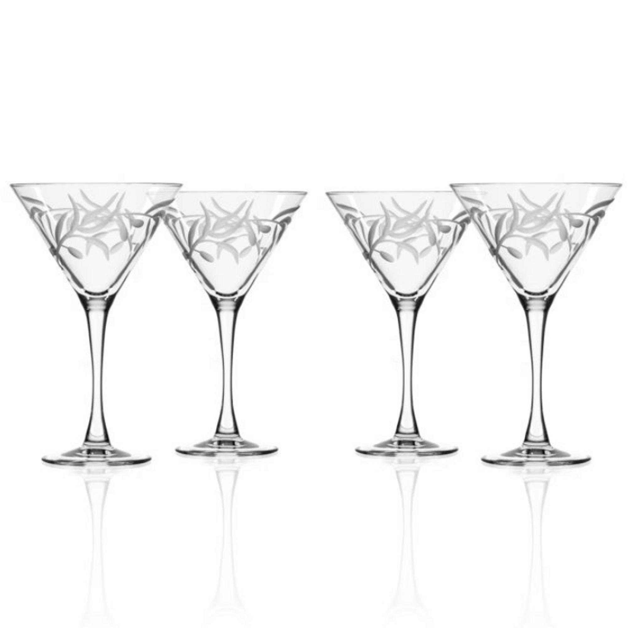 Olive Branch Martini Glass Set Engraved Olive Branch