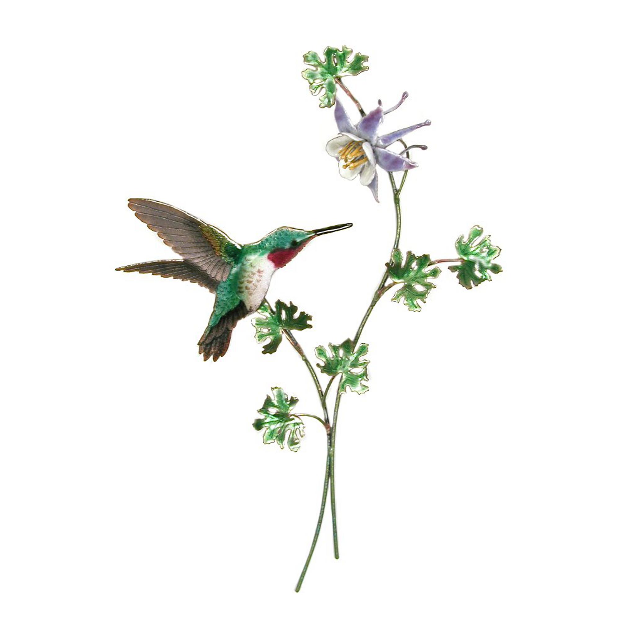 Bovano Broad Tailed Hummingbird With Columbine Flower Wall Art