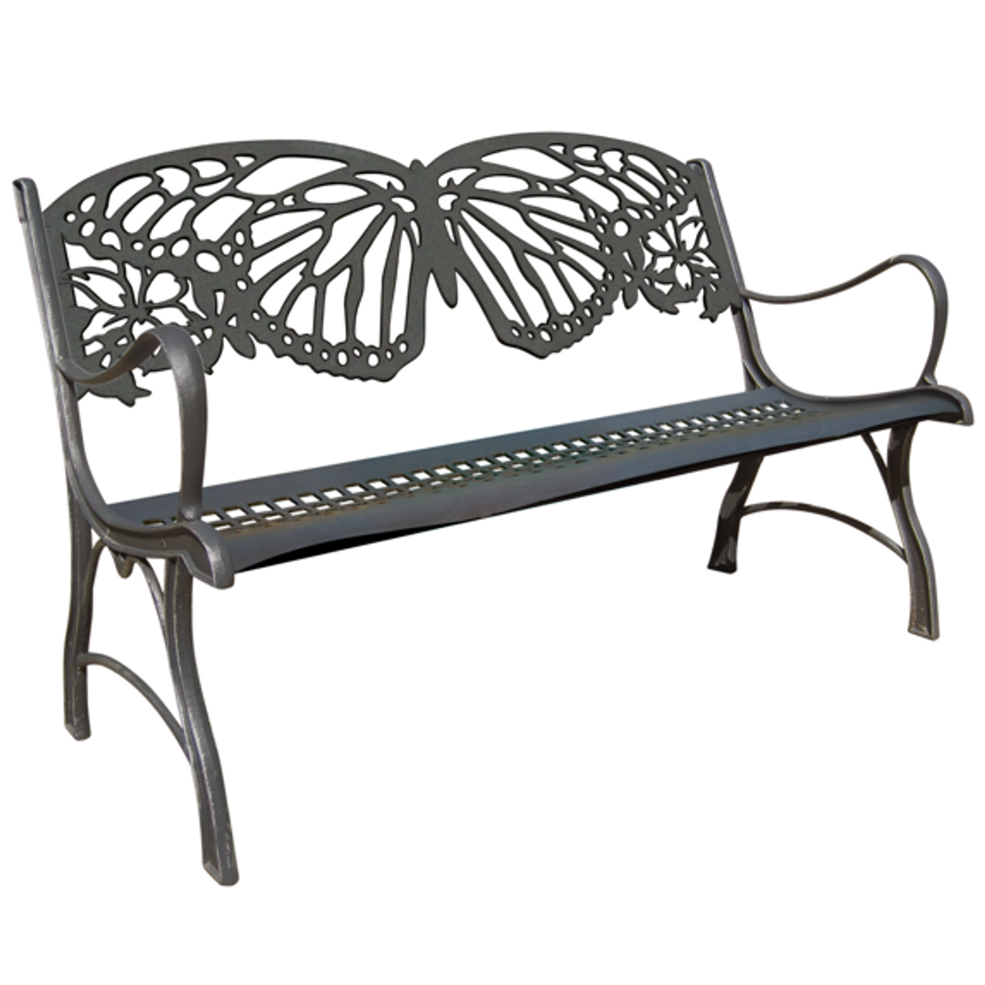 Butterfly Bench Cast Iron Outdoor Bench Painted Sky