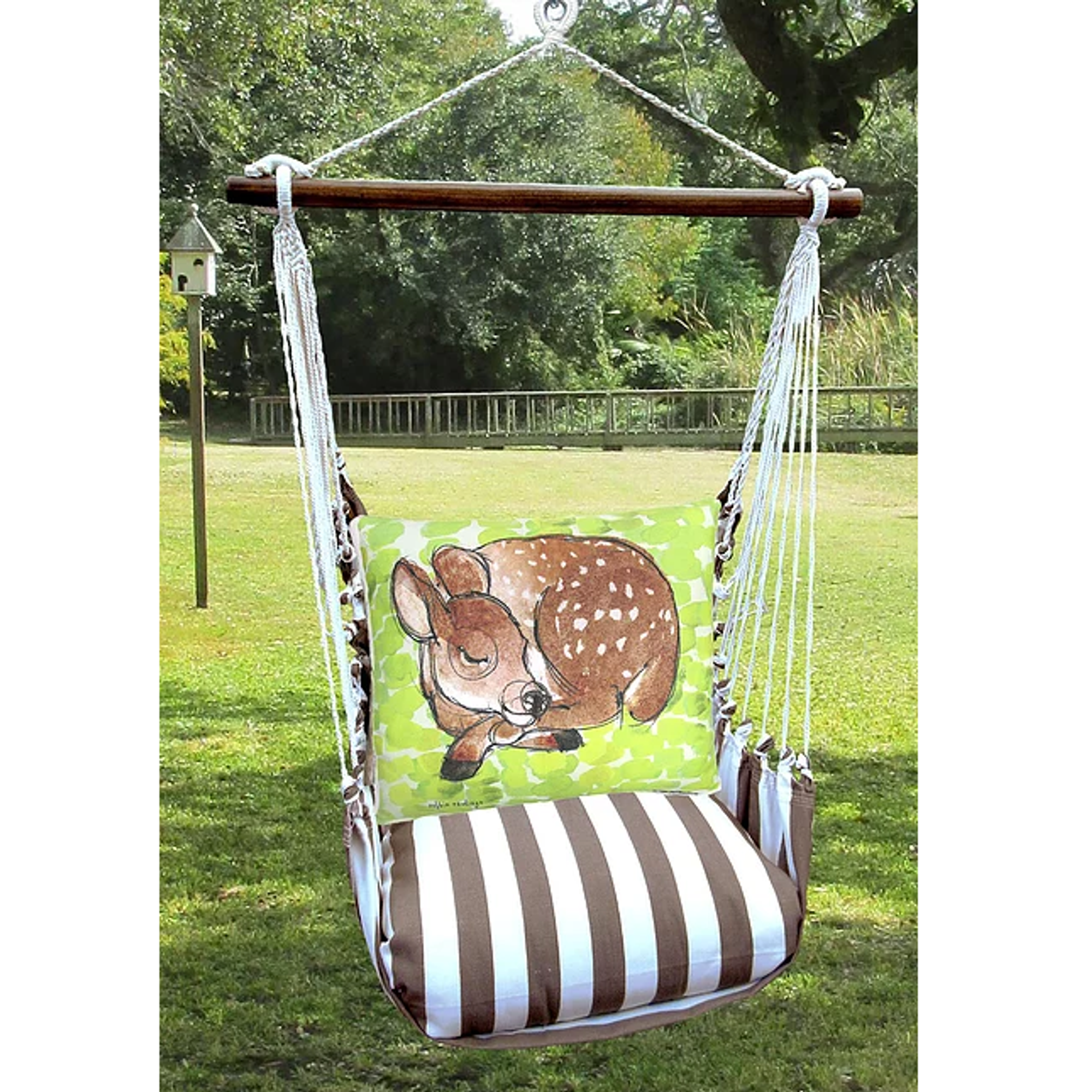 Sleeping Deer Hammock Chair Swing Striped Chocolate Magnolia Casual
