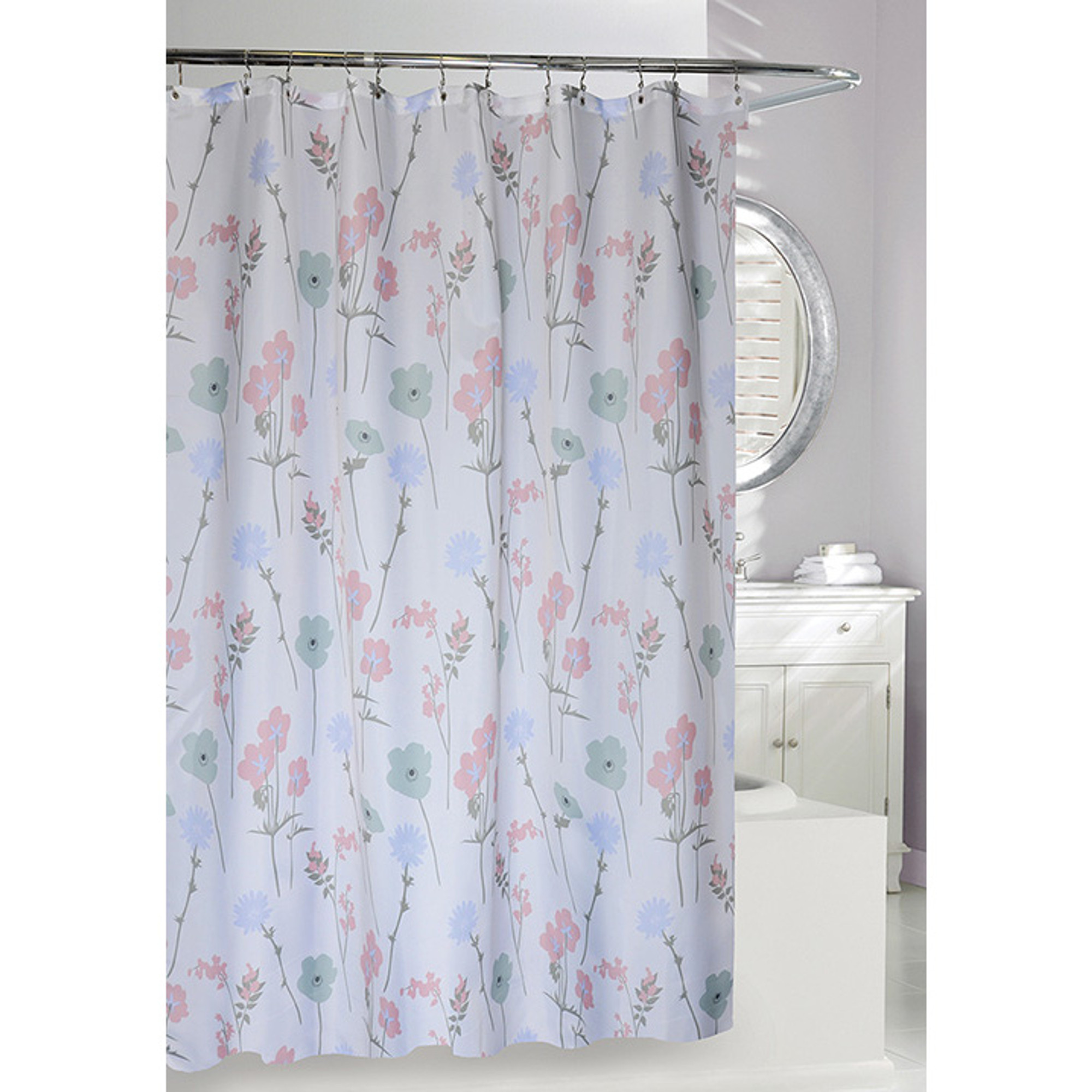 Pastel Floral Fabric Shower Curtain
