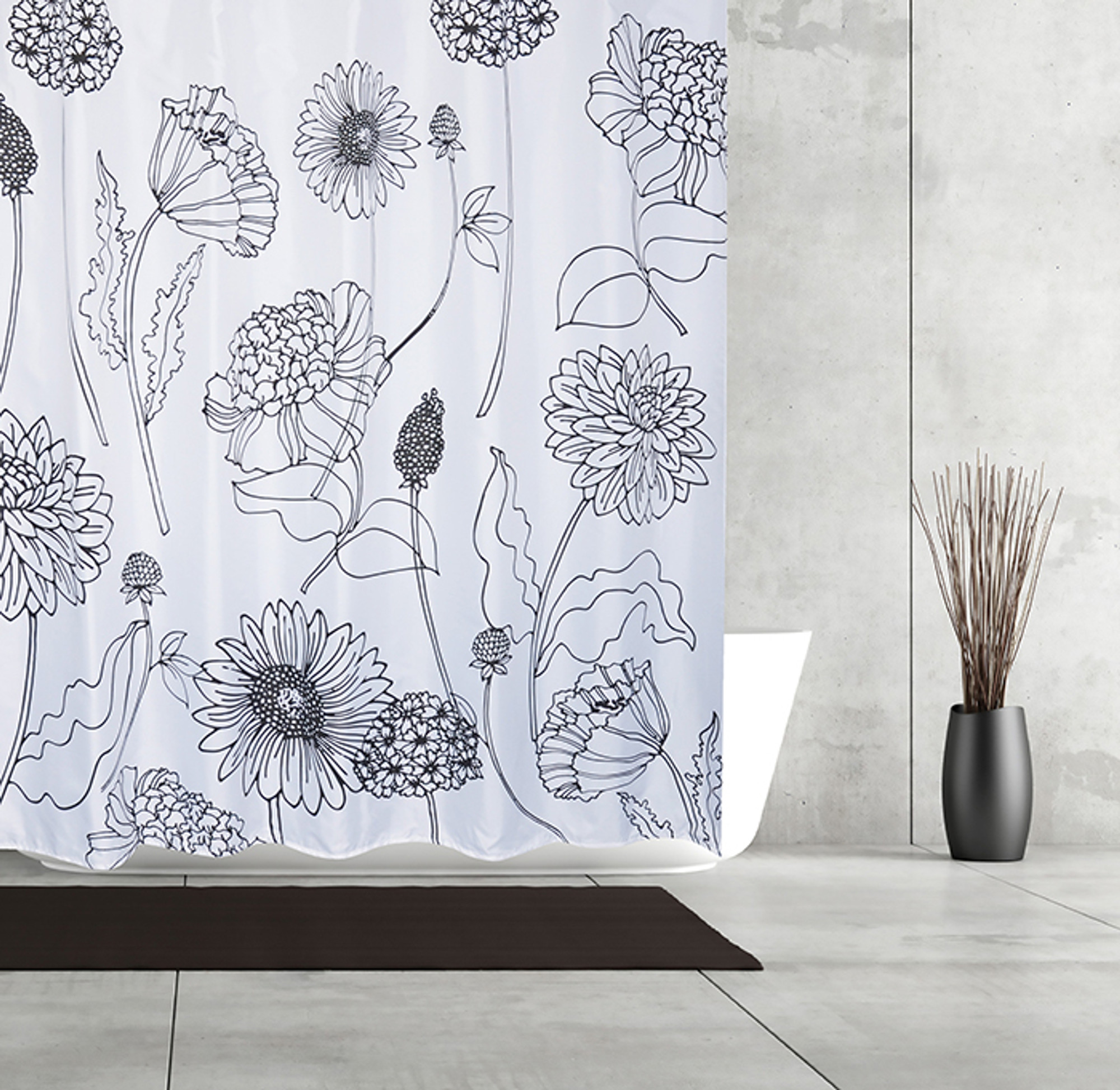 Flower Sketchbook Fabric Shower Curtain