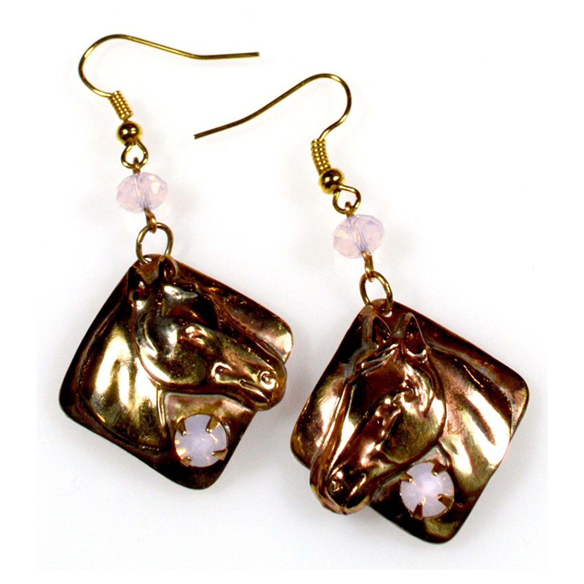 Horse Head Rose Opal Wire Earrings Elaine Coyne Jewelry
