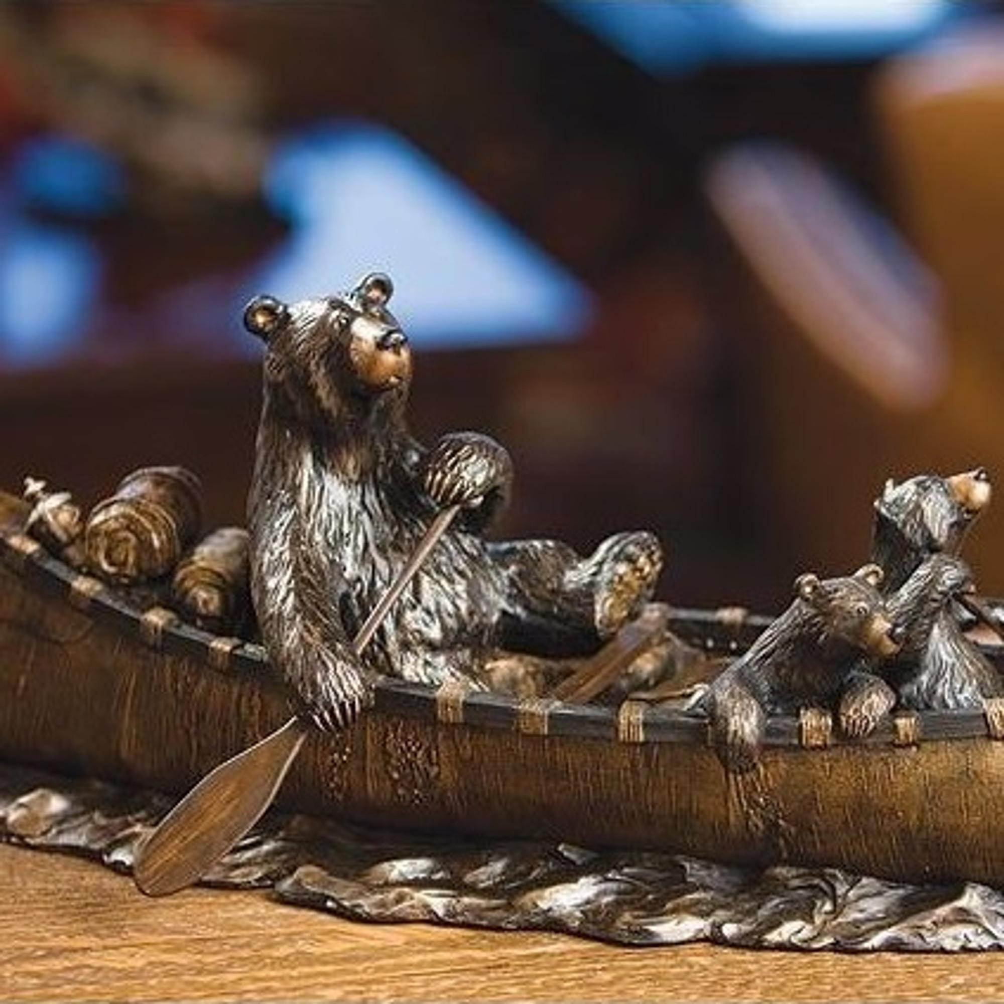 Bear Sculpture Canoe Trip Big Sky Carvers