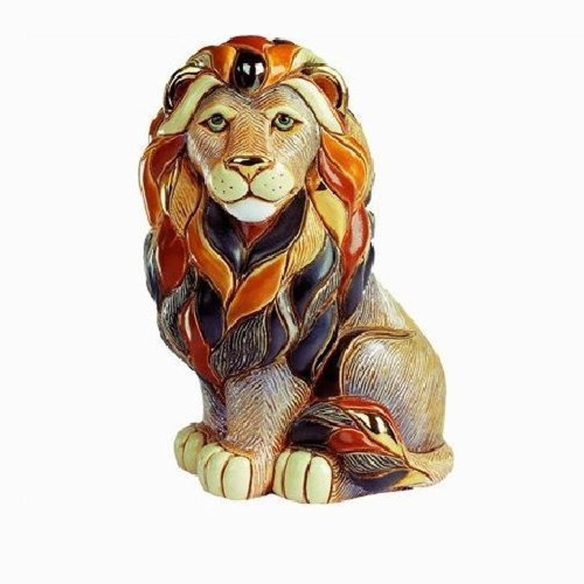 Ceramic Lion Figurine De Rosa Collection Sitting Lion