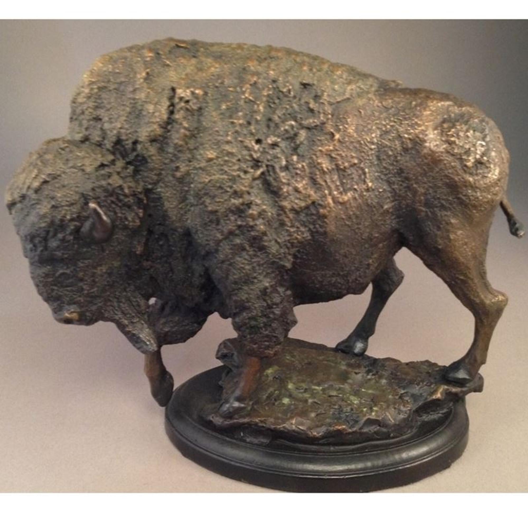 Antiqued Bronze Finish American Buffalo Statue Bison