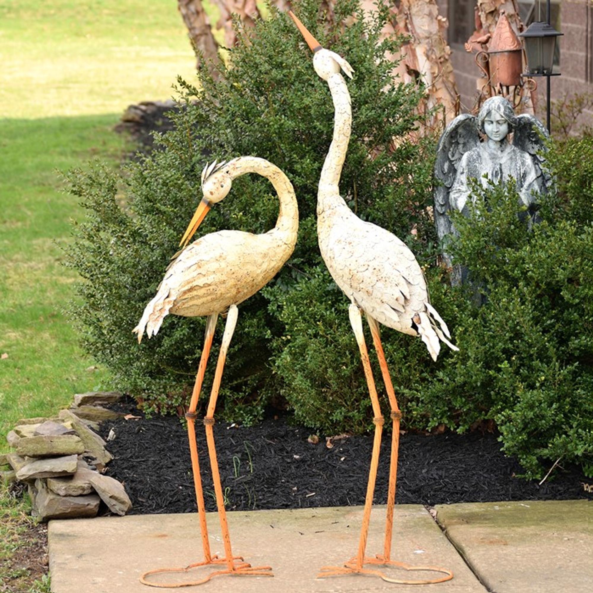 Rusty Heron Sculpture Outdoor Metal Heron Statue Garden Decor