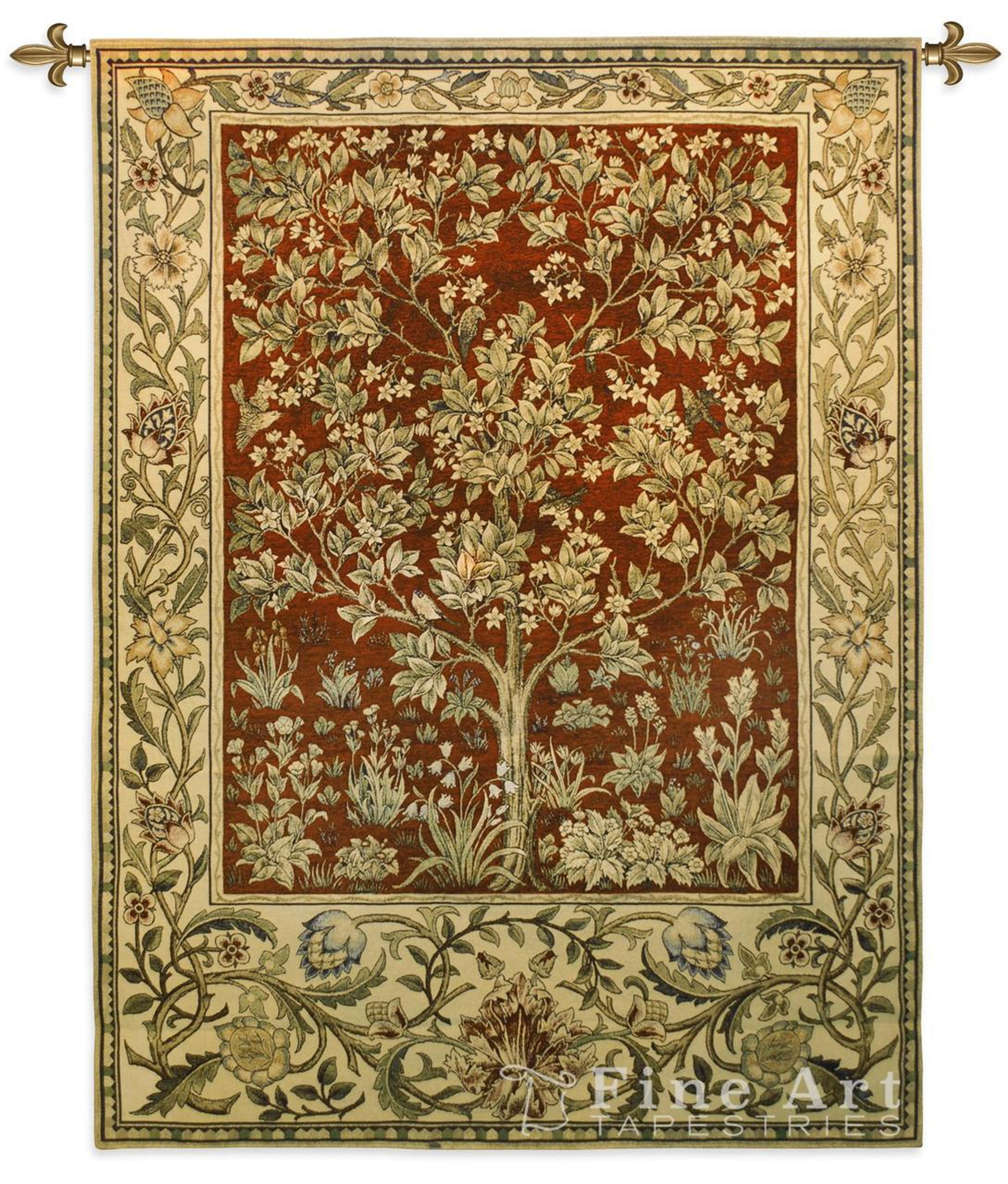 Tree Of Life Wallhanging Ruby Tapestry Fine Art Tapestries