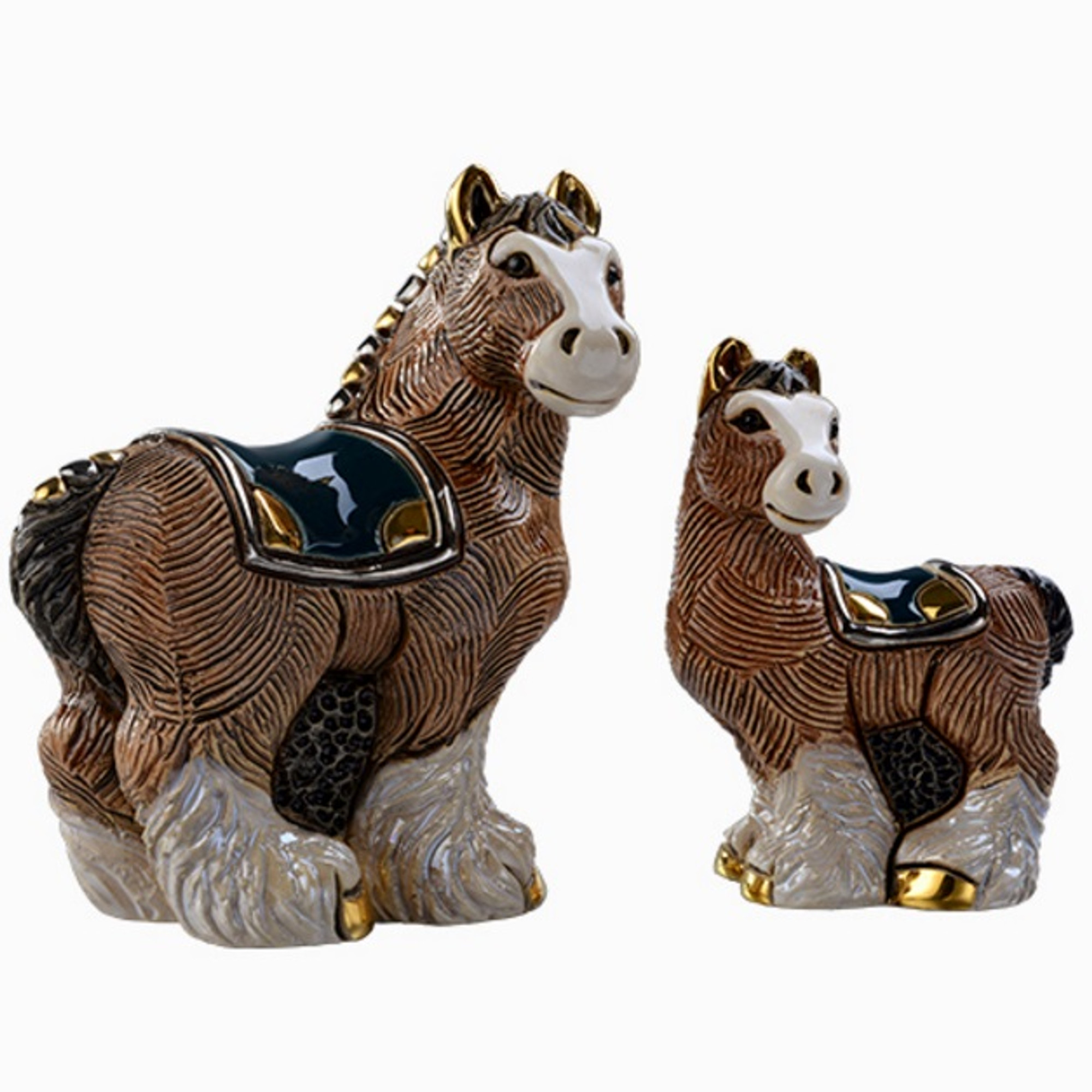 Clydesdale Horse And Baby Ceramic Figurine F147 De Rosa Collection