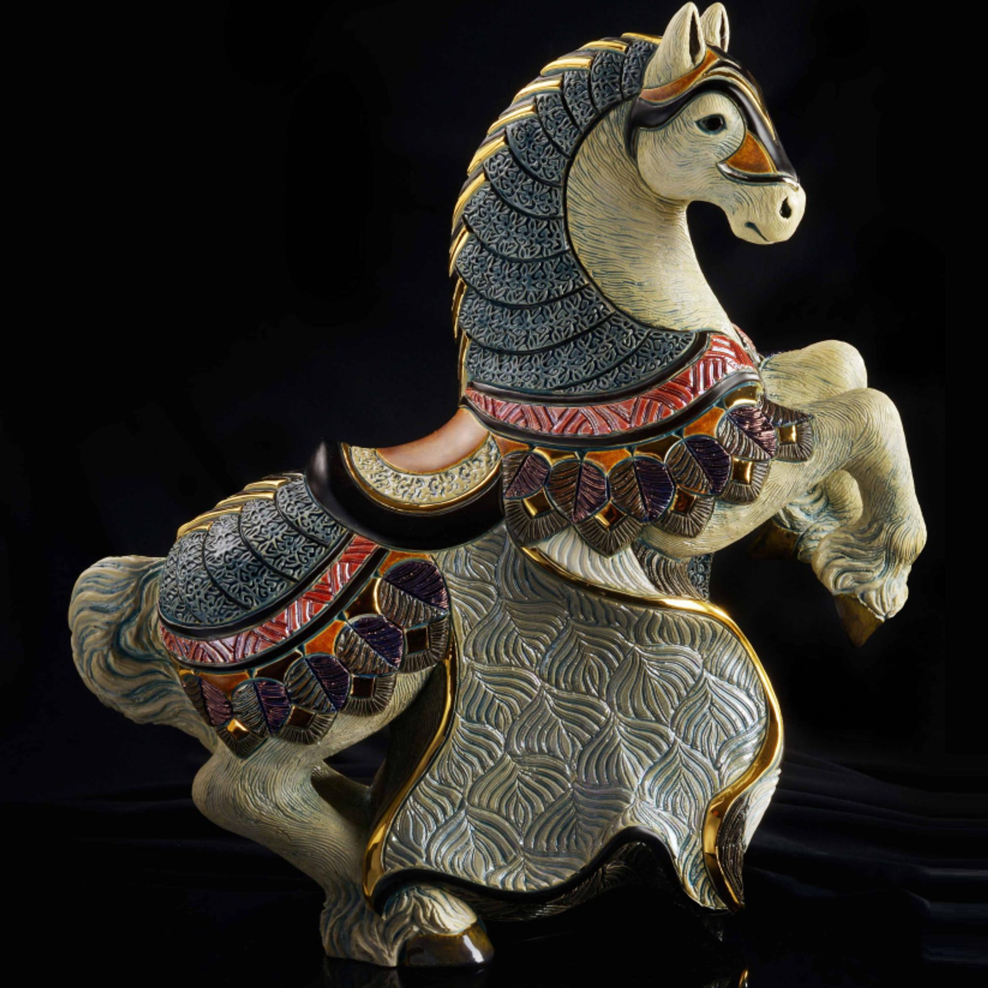 Ceramic Horse Figurine De Rosa Collection Rampant