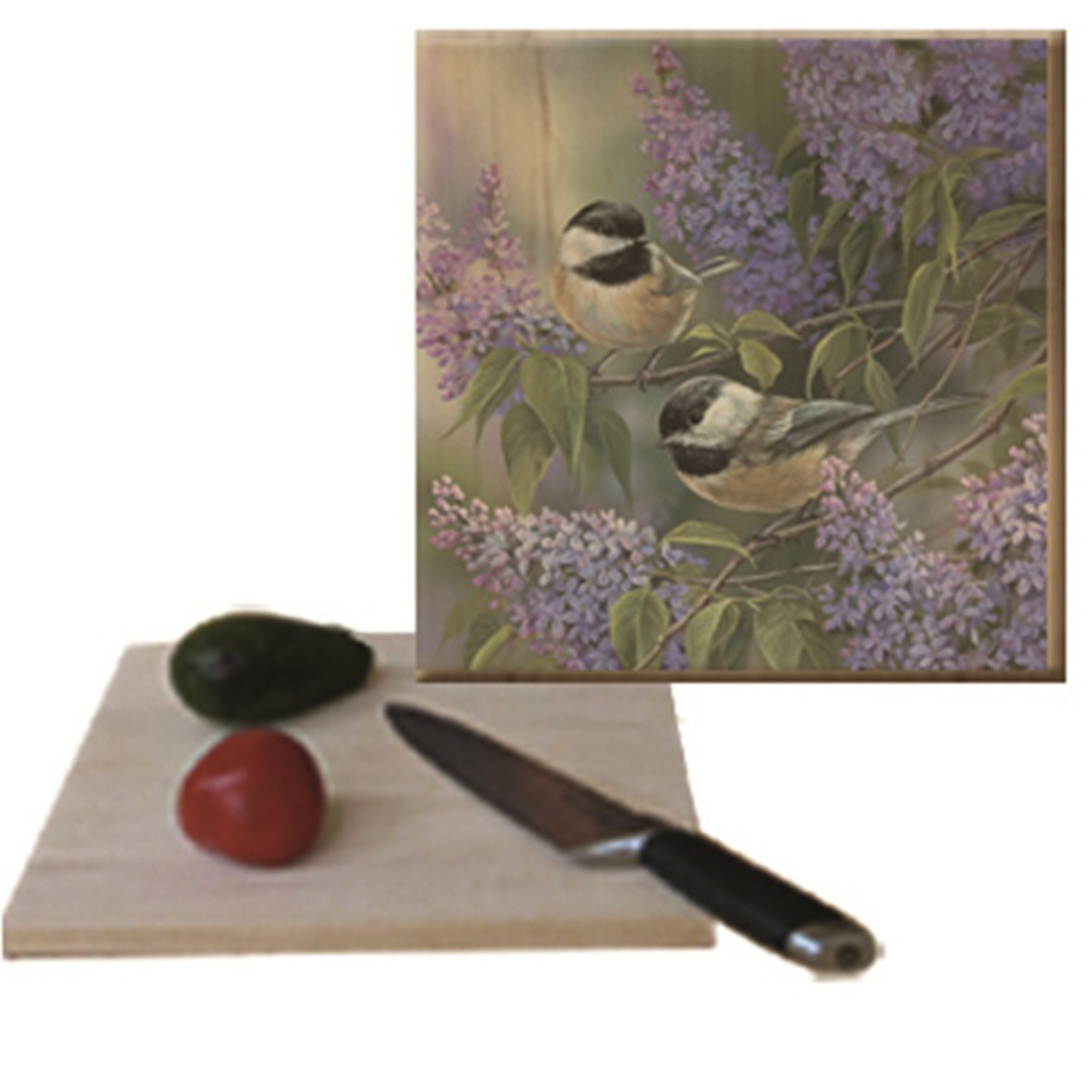 Chickadee Cutting Board Chickadees And Lilac Wood Graphixs