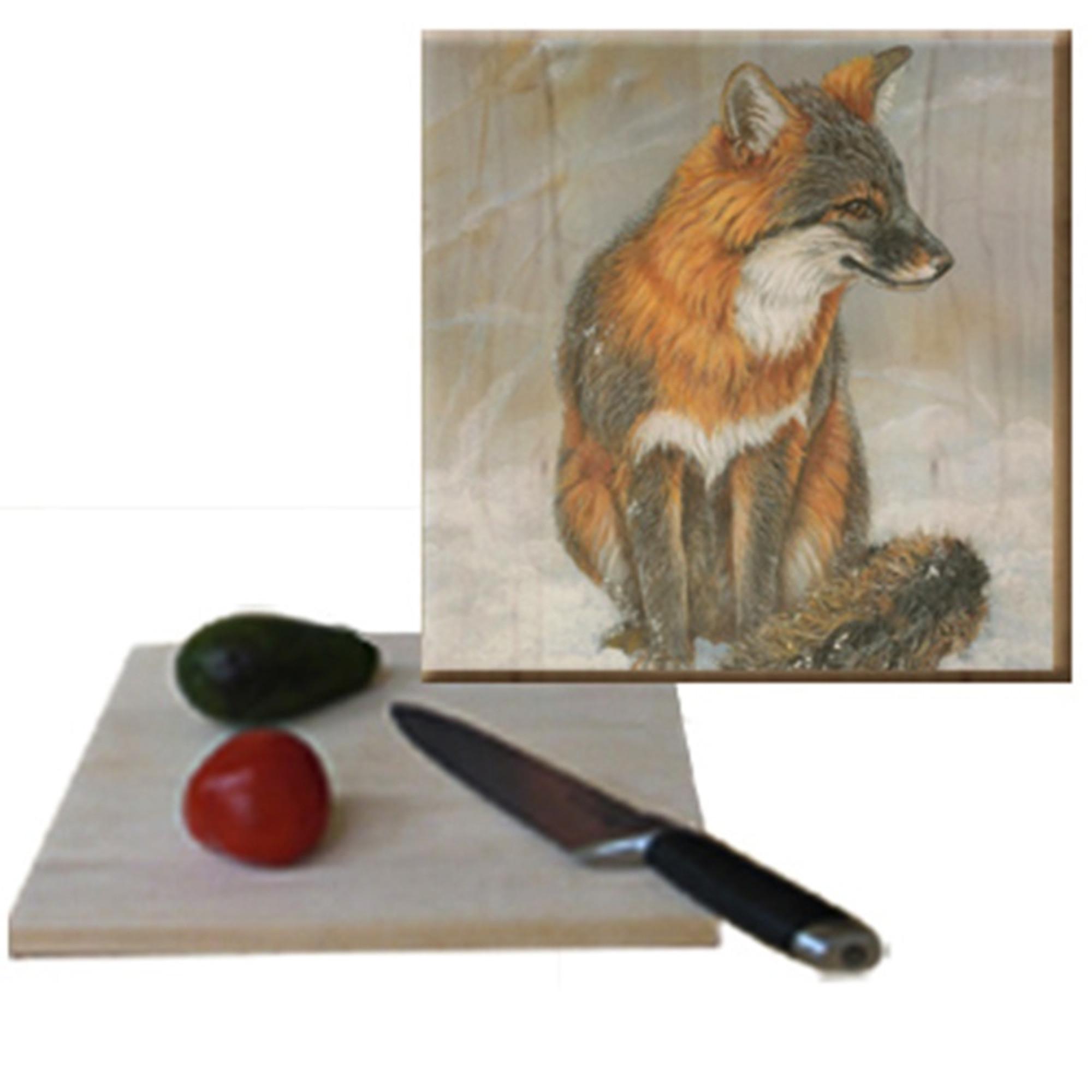 Gray Fox Cutting Board Wood Graphixs