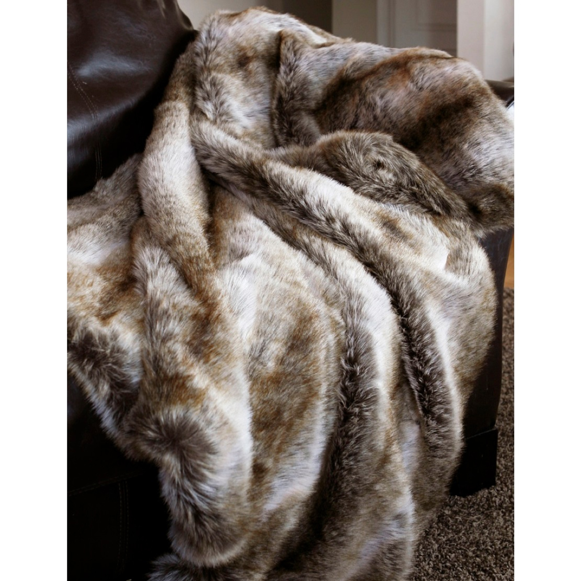 Chinchilla Faux Throw Fur Blanket Carstens