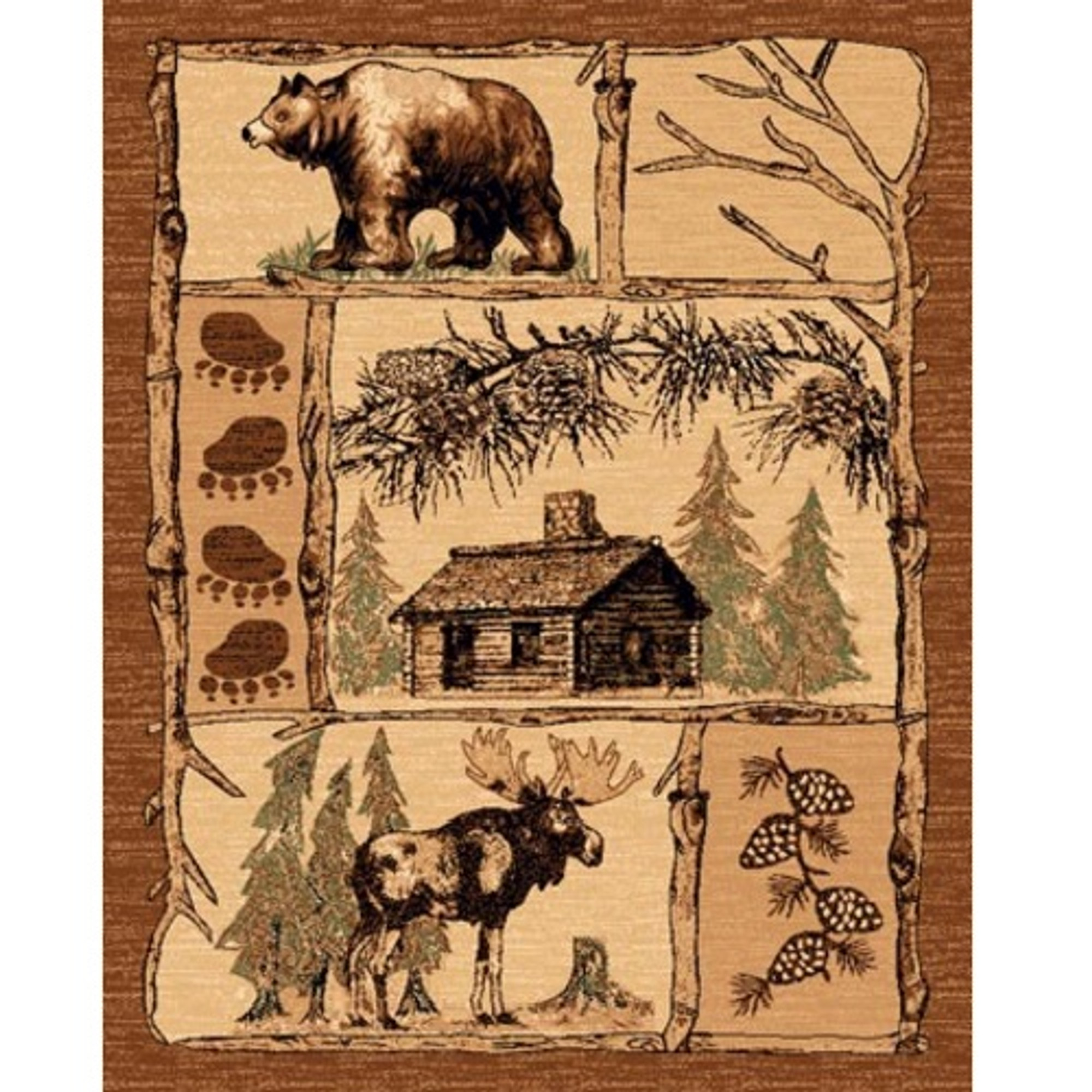 Cabin Lodge Area Rug Bear Moose American Cover Persian Weavers