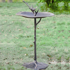 Bird on Branch Sundial Birdbath | 33348 | SPI Home