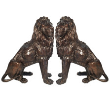 Lion Pair Sitting Bronze Statue | Metropolitan Galleries | SRB705027-1