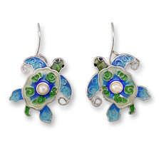 Pearly Sea Turtle Enamel Silver Plated Earrings | Zarah Jewelry | 33-02-Z1