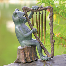 Frog and Harp Windchime Garden Sculpture | 34538 | SPI Home