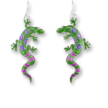 Gecko Enamel Silver Plated Pearly Wire Earrings Calypso | Zarah Jewelry | 01-03-Z1