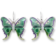 Butterfly Enamel Silver Plated Pearly Wire Earrings | Zarah Jewelry | 07-06-Z1