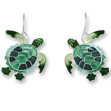 Green Turtle Enamel Silver Plated Pearly Wire Earrings | Zarah Jewelry | 0707Z1