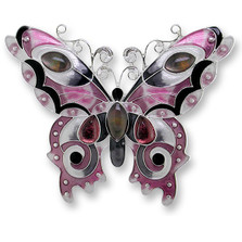 Butterfly Enamel Silver Plated Pearly Pin Garnet | Zarah Jewelry | 07-15-Z2