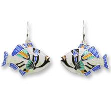 Triggerfish Enameled Silver Plated Wire Earrings | Zarah Jewelry | 19-03-Z1