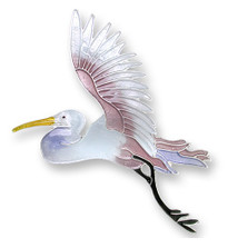 Egret Enameled Silver Plated Pin| Zarah Jewelry | 19-04-Z2